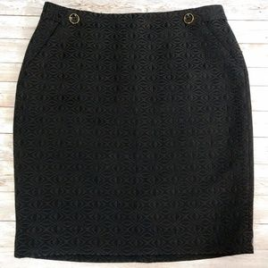 The Limited Black Embossed Pencil Skirt NWOT